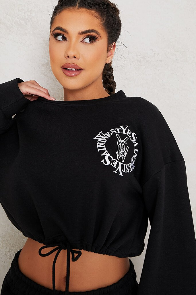 Black Ye Saint West Cropped Embroided Sweater view 5
