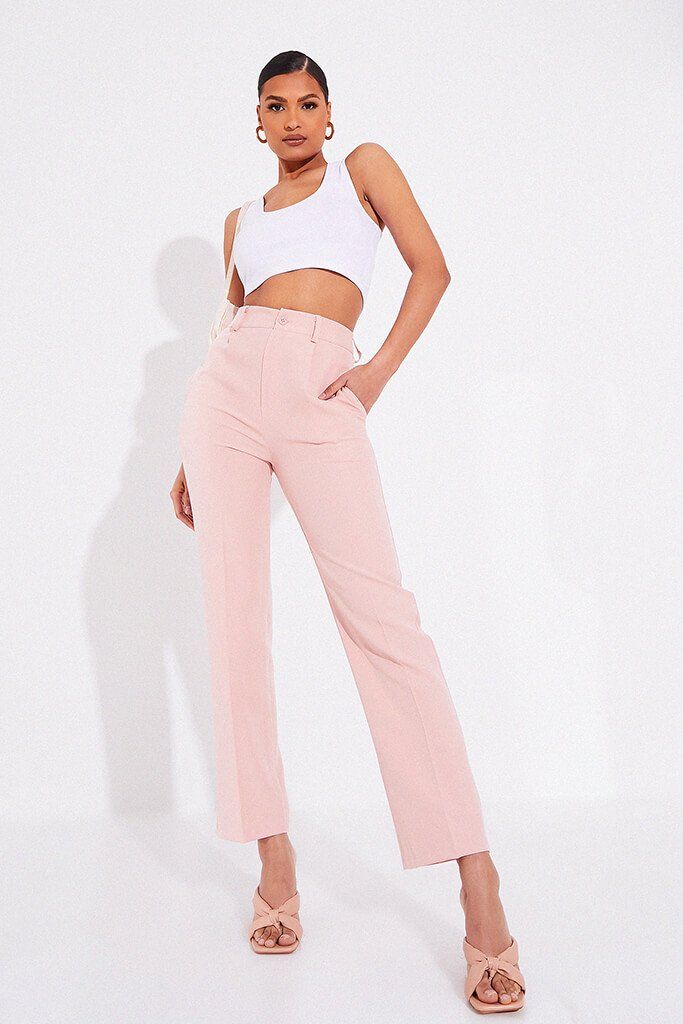 Blush Pink Tailored Woven Straight Leg