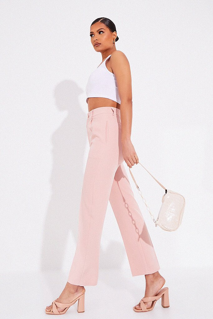 Blush Pink Tailored Woven Straight Leg view 3