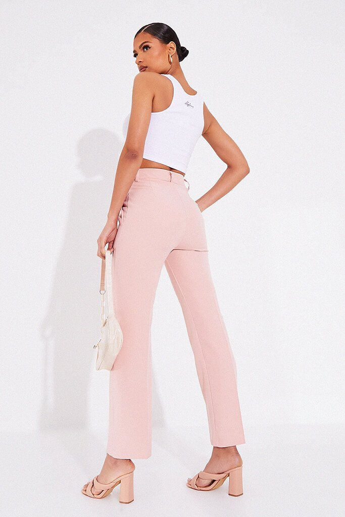 Blush Pink Tailored Woven Straight Leg view 4