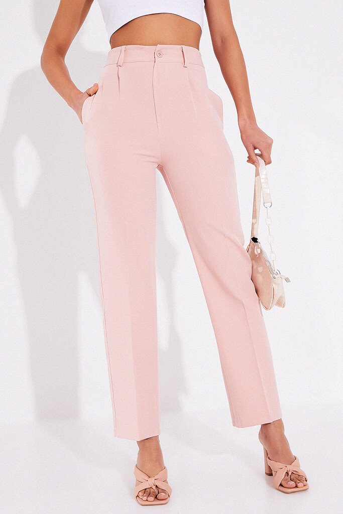 Blush Pink Tailored Woven Straight Leg view 2