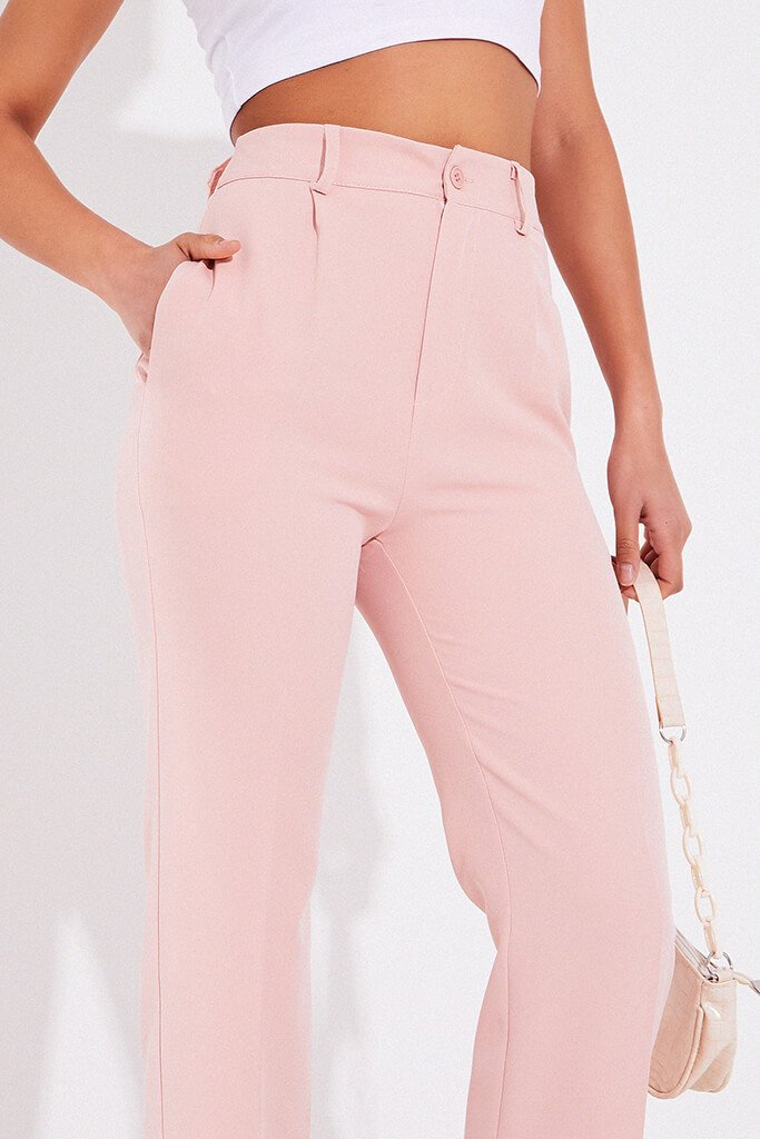 Blush Pink Tailored Woven Straight Leg view 5