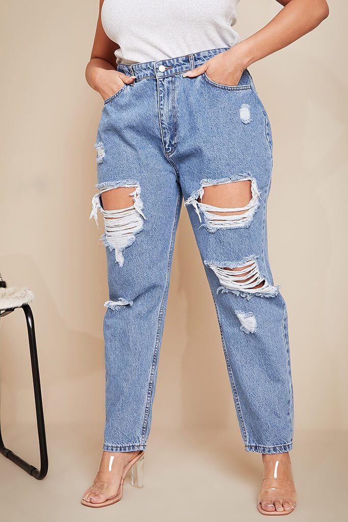 Mid Wash Plus Size Distressed Mom Jeans view 2