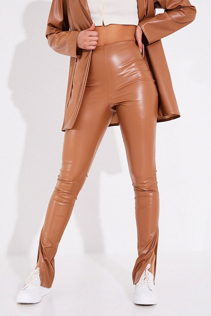 Taupe Faux Leather Trousers With Side Splits view 2