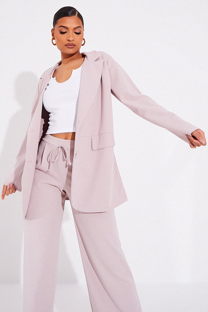 Stone Oversized Blazer With Front Pockets