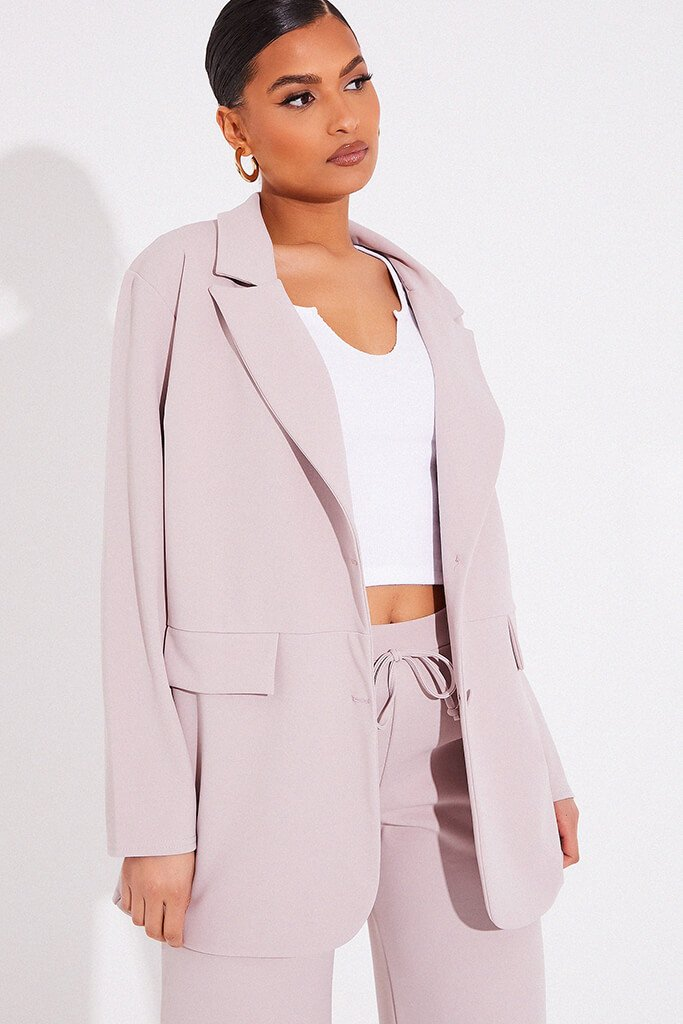 Stone Oversized Blazer With Front Pockets view 5