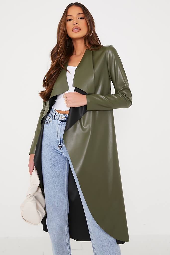 Khaki Longline Faux Leather Waterfall Coat view main view