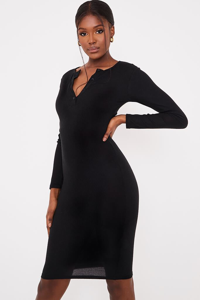 Black Brushed Rib Button Midi Dress
