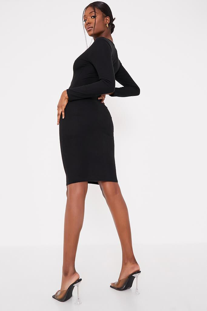 Black Brushed Rib Button Midi Dress view 3