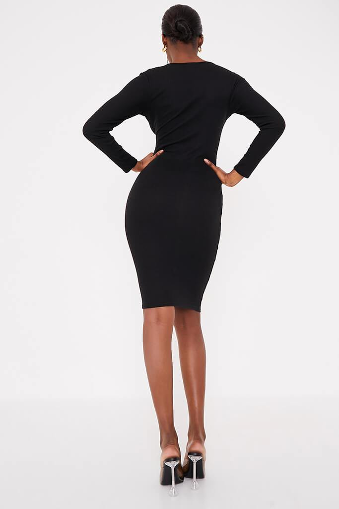 Black Brushed Rib Button Midi Dress view 4