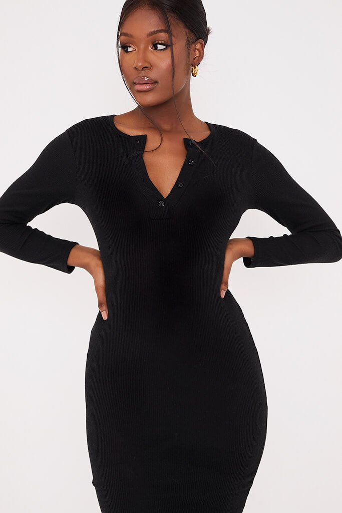 Black Brushed Rib Button Midi Dress view 5
