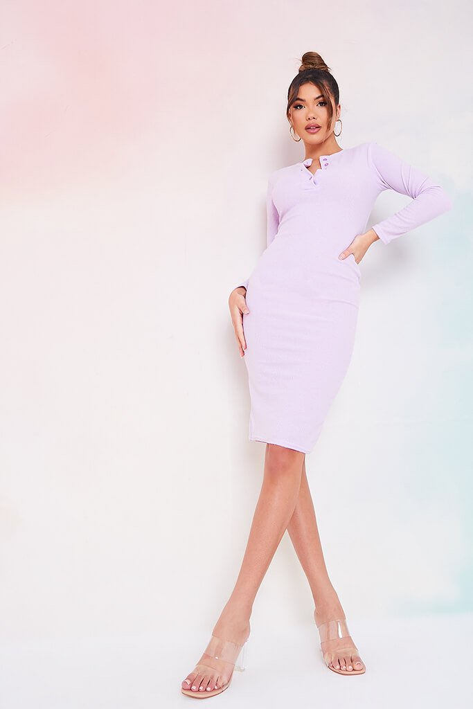 Lilac Brushed Rib Button Midi Dress view main view