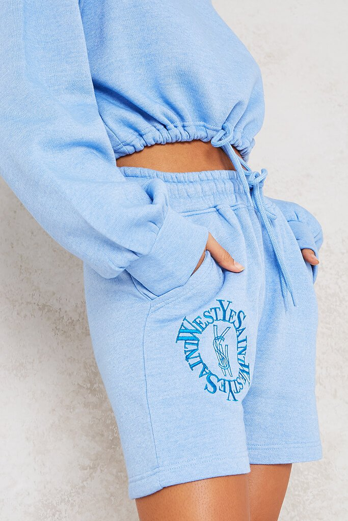 Baby Blue Ye Saint West Embroidered Sweat Shorts view 5
