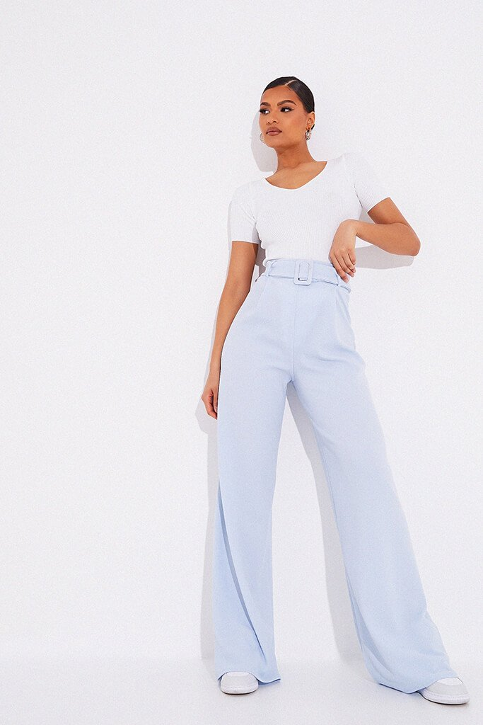 Dusty Blue Wide Leg Belted Trousers view main view