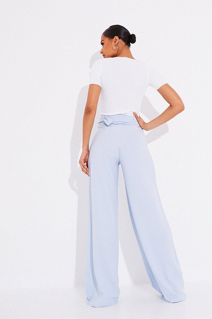 Dusty Blue Wide Leg Belted Trousers view 4