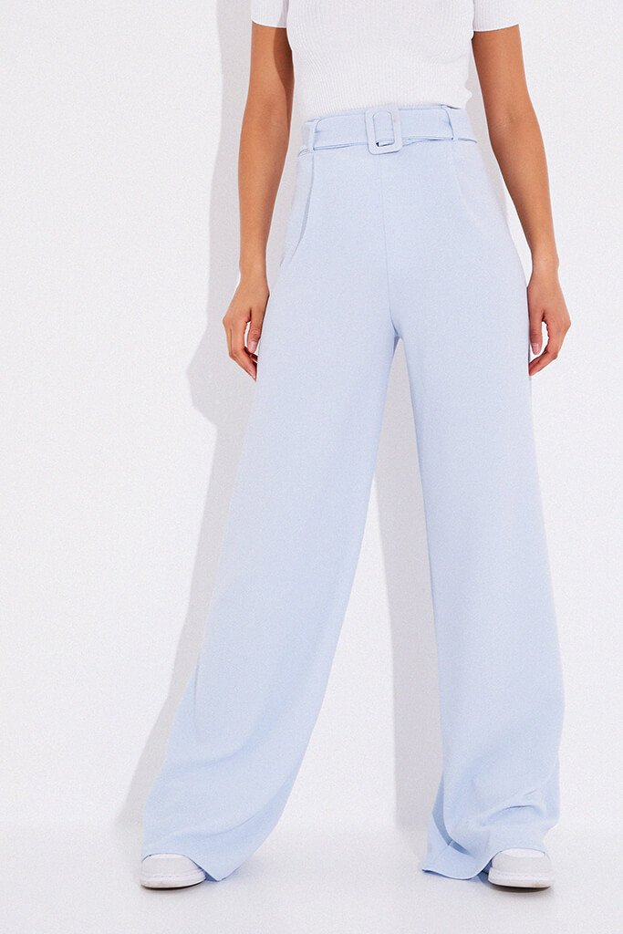 Dusty Blue Wide Leg Belted Trousers view 2