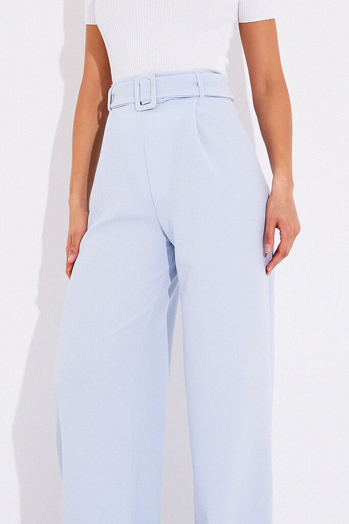Dusty Blue Wide Leg Belted Trousers view 5