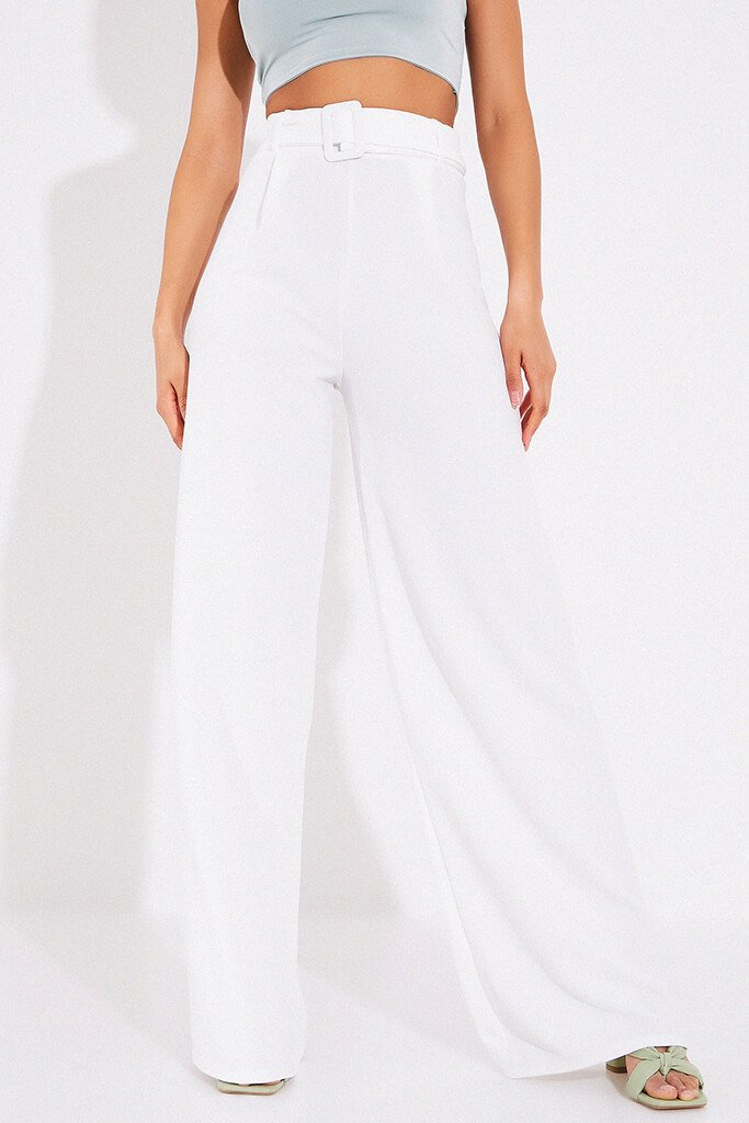 Cream Wide Leg Belted Trousers view 2