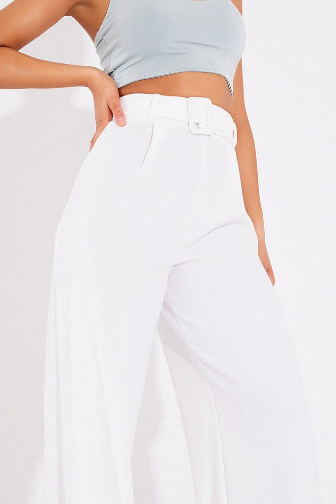 Cream Wide Leg Belted Trousers view 5
