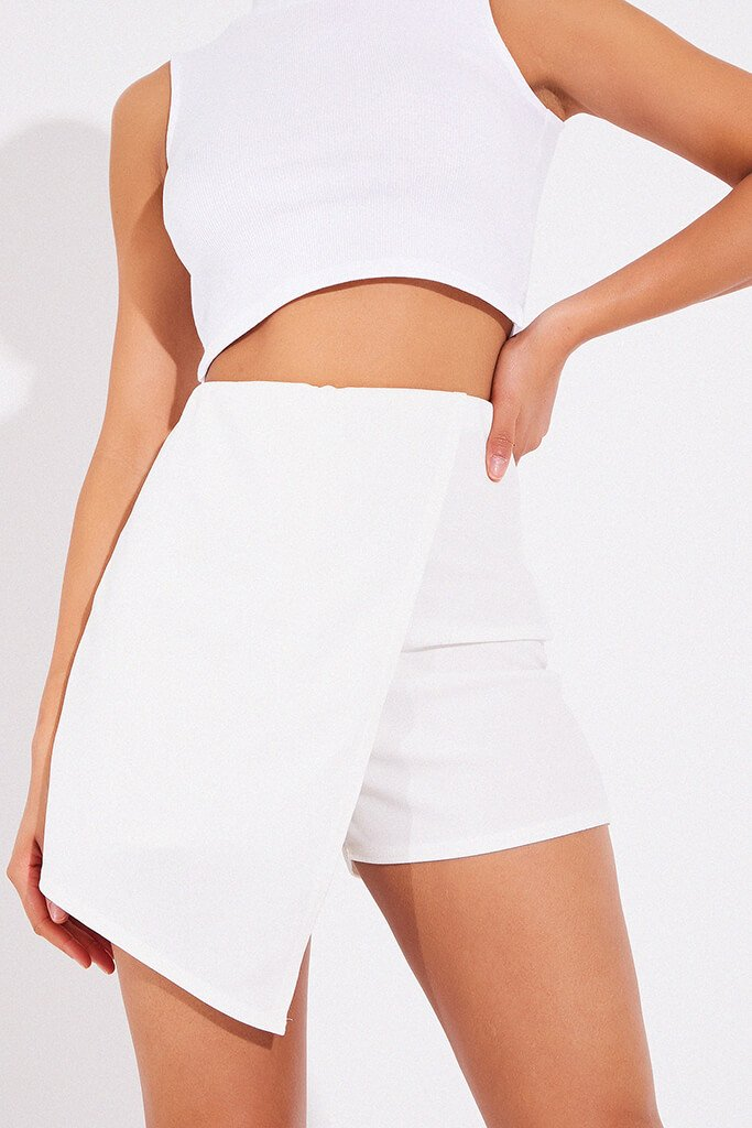 White Asymetrical Skort view main view