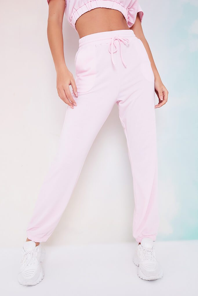 Baby Pink Elasticated Waist Cuffed Joggers view 2