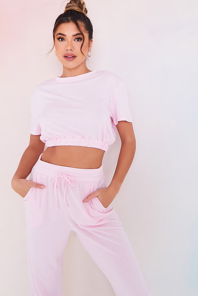 Baby Pink Elasticated Waist Short Sleeve Crop Top view main view