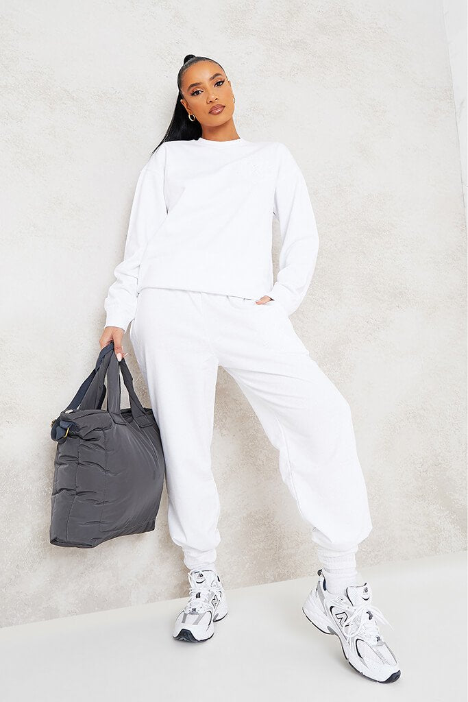 White More Self Love Embroidered Joggers