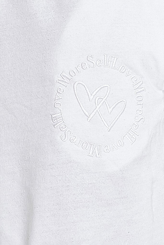 White More Self Love Embroidered Joggers view 5