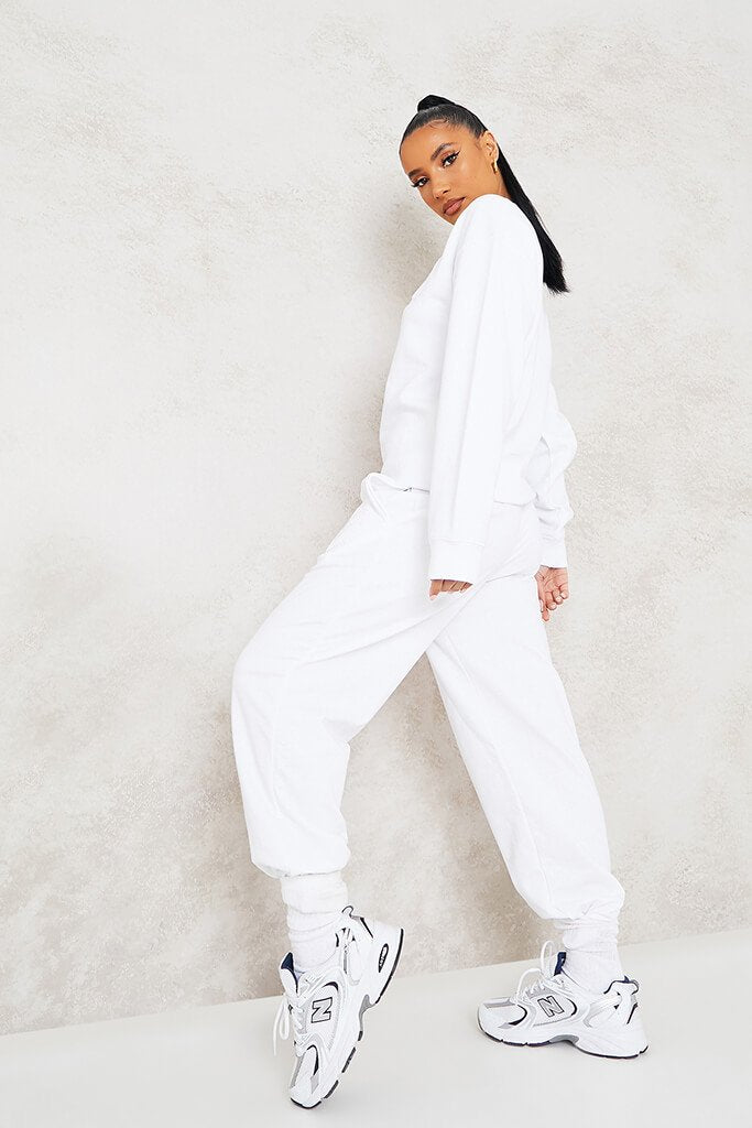 White More Self Love Embroidered Joggers view 4