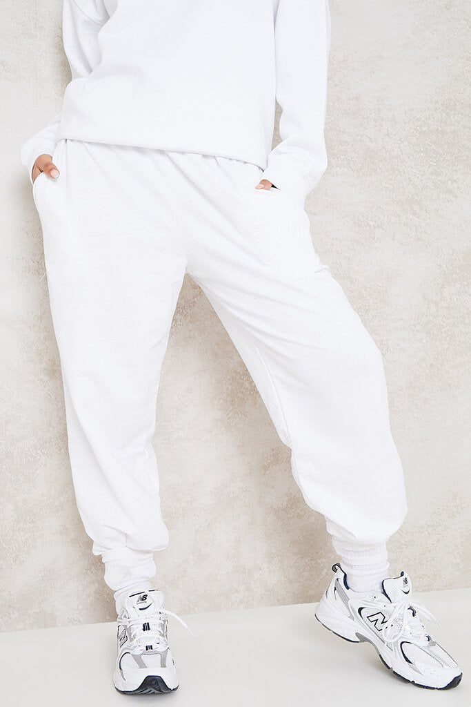 White More Self Love Embroidered Joggers view 2