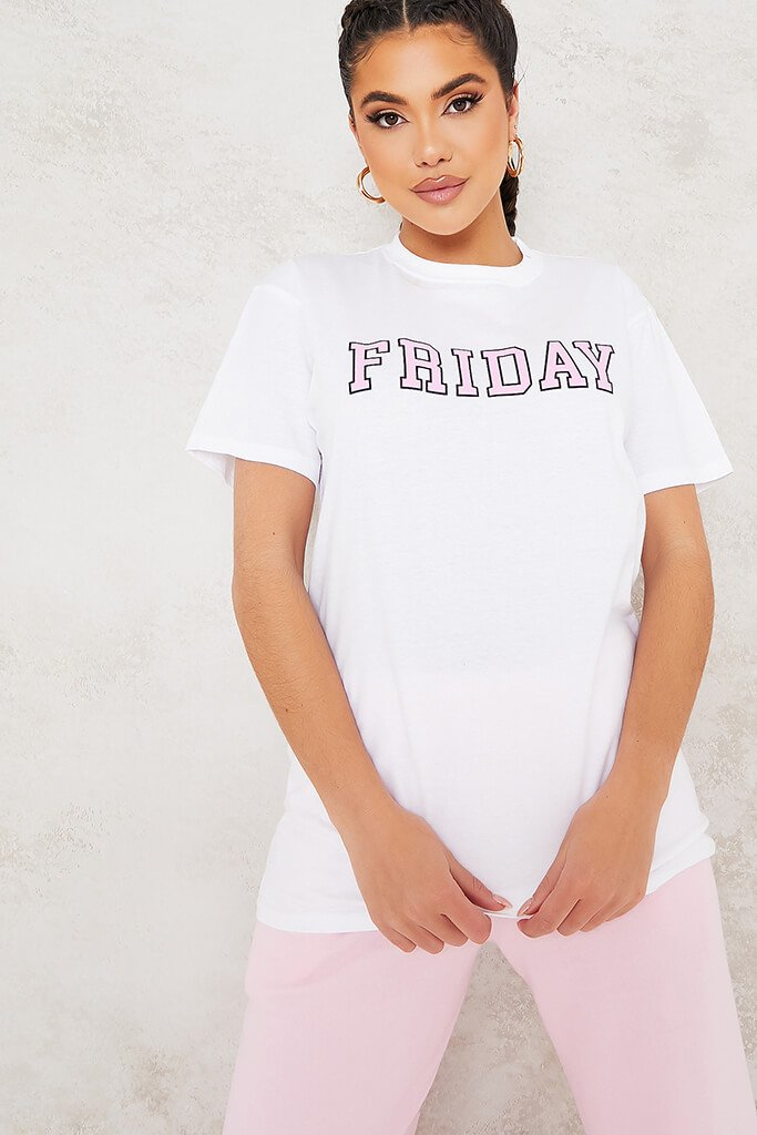 White Friday Pink Slogan Oversized T-Shirt