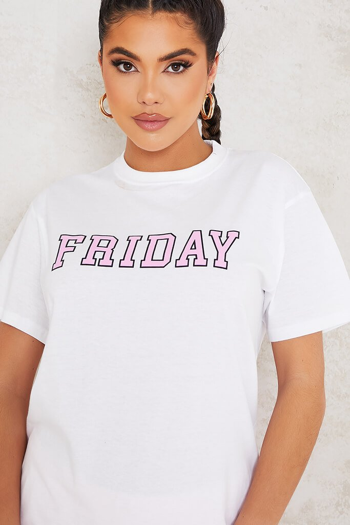White Friday Pink Slogan Oversized T-Shirt view 5