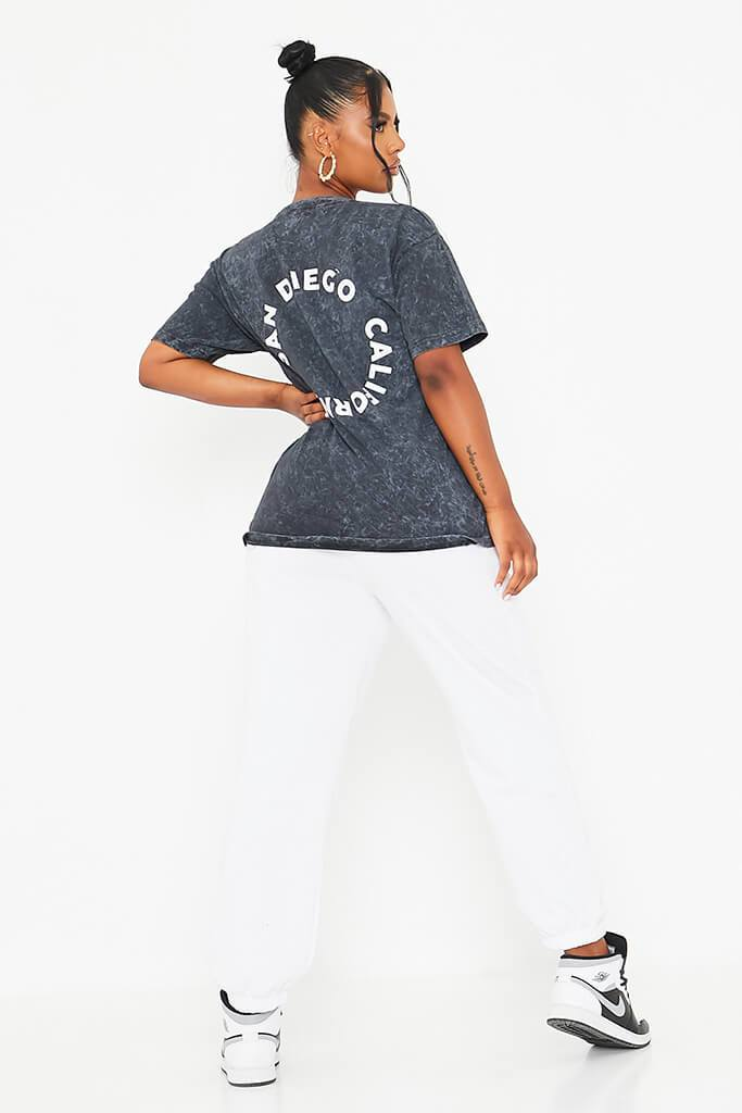 Charcoal Acid Wash White Circle Back Print San Diego Oversized T-Shirt view 4