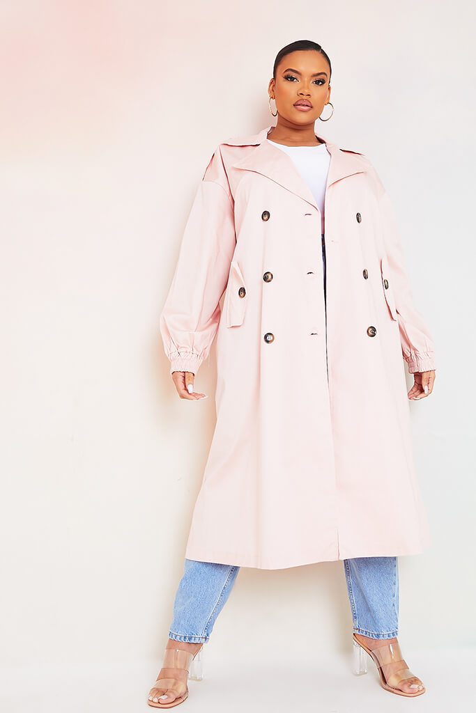 Baby Pink Plus Size Trench Coat With Oversized Pockets