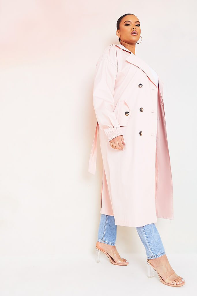 Baby Pink Plus Size Trench Coat With Oversized Pockets view 2