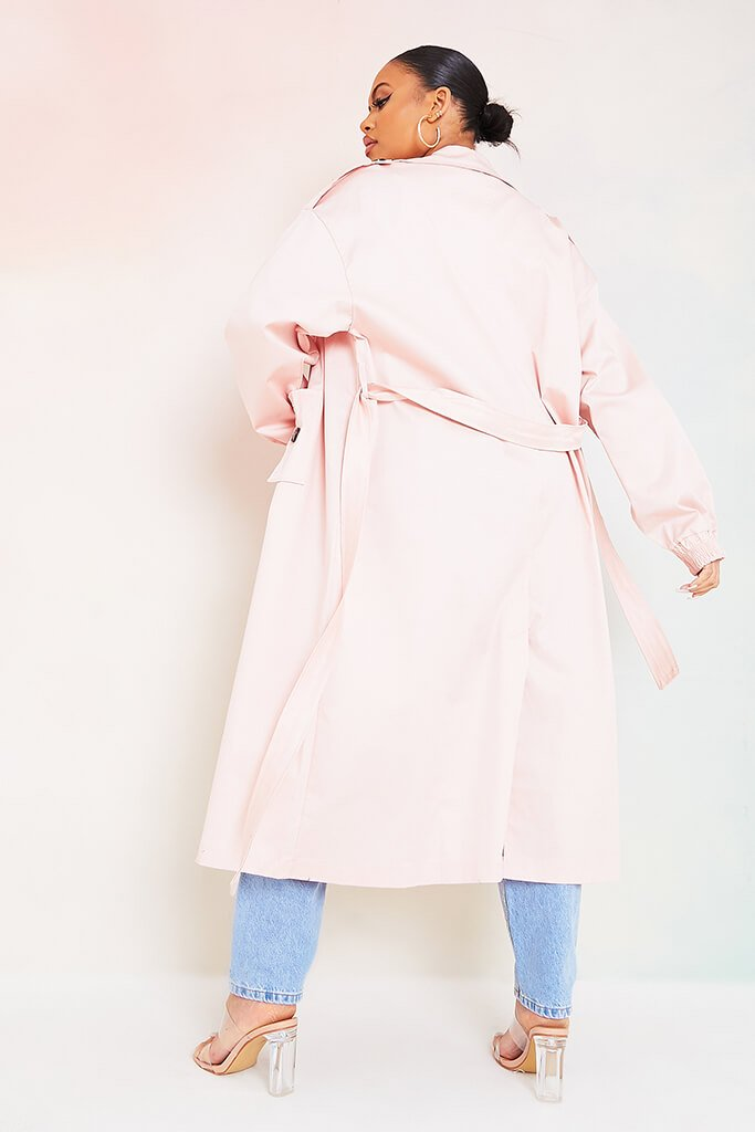 Baby Pink Plus Size Trench Coat With Oversized Pockets view 3