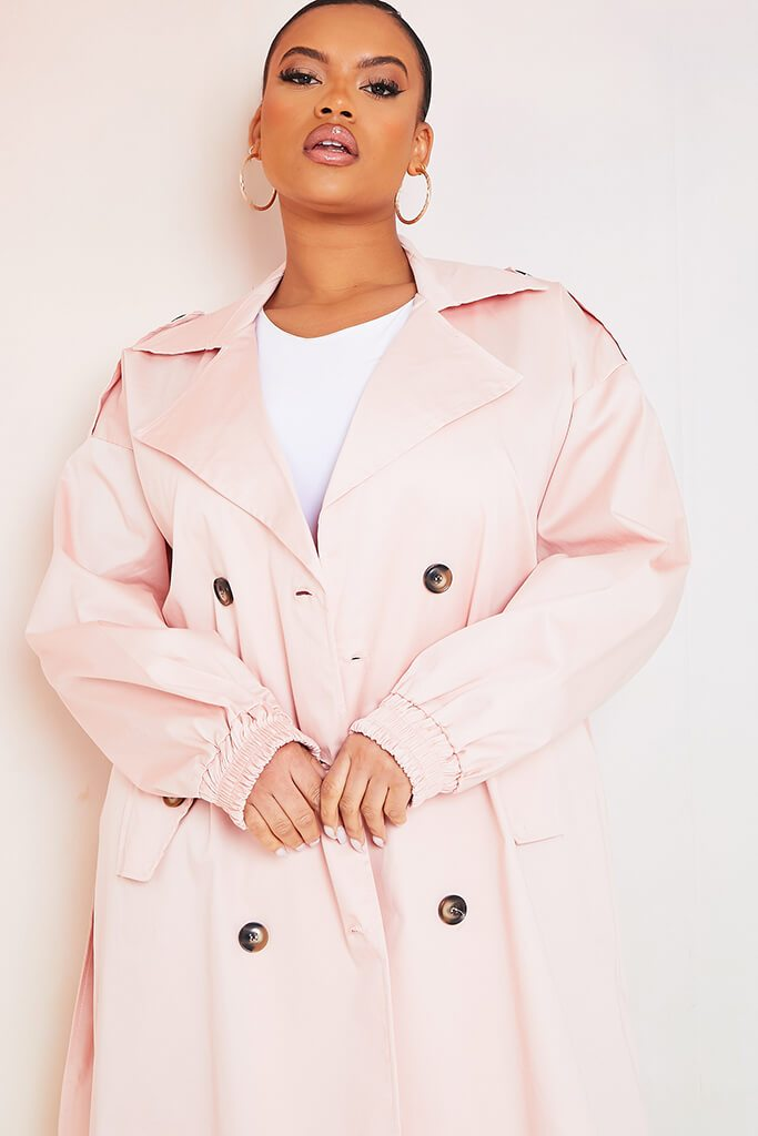 Baby Pink Plus Size Trench Coat With Oversized Pockets view 4