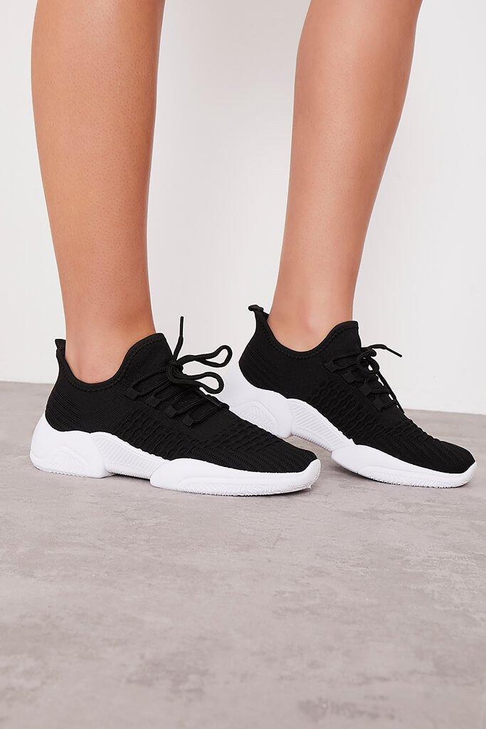 Black Knitted Double Chunky Sole Trainers view 3