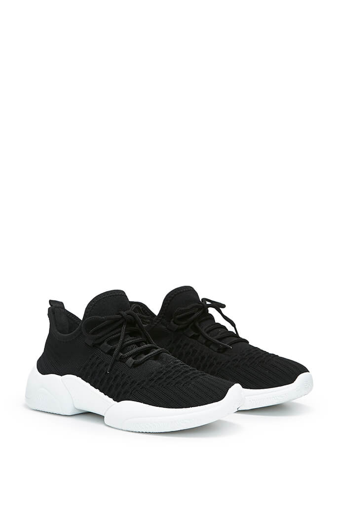 Black Knitted Double Chunky Sole Trainers view 4