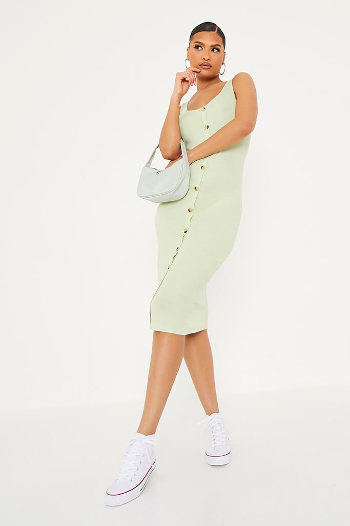 Soft Green Ribbed Sleeveless Button Midi Dress