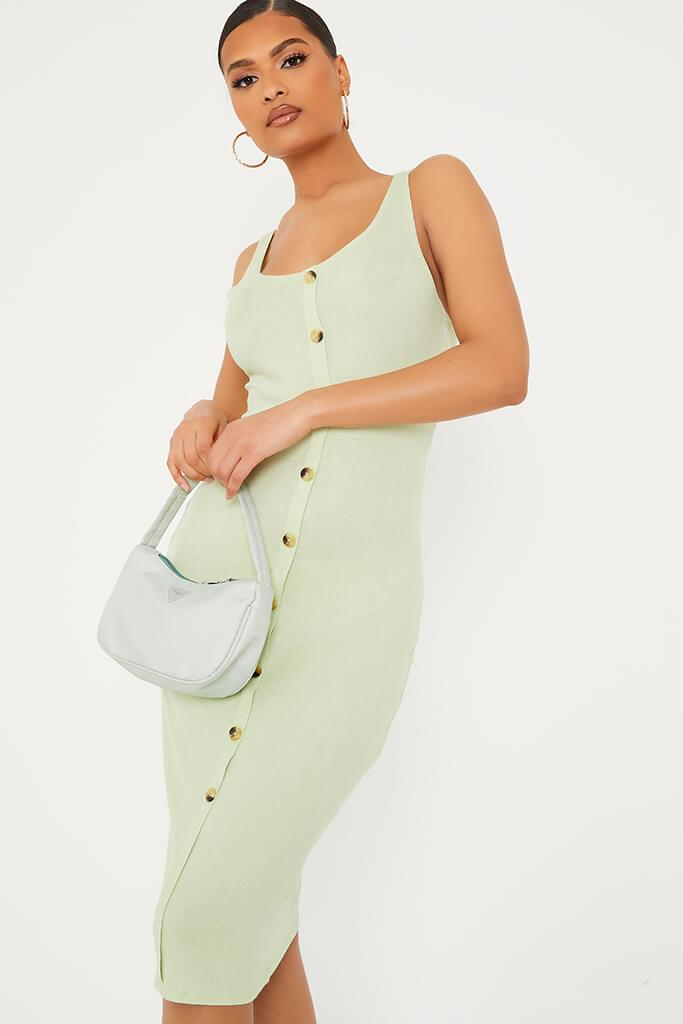 Soft Green Ribbed Sleeveless Button Midi Dress view 2