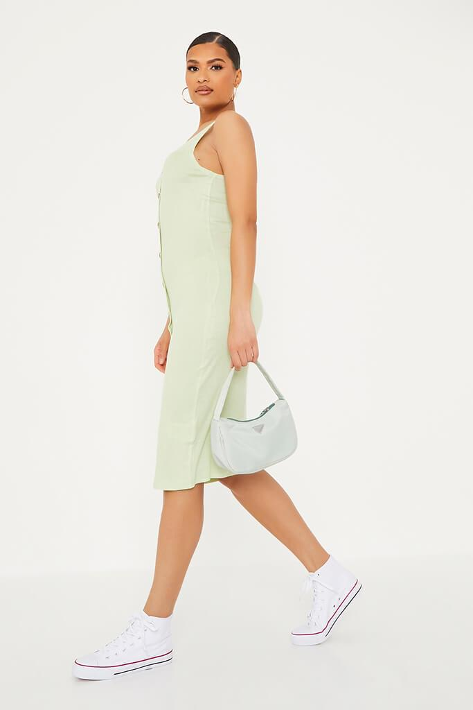 Soft Green Ribbed Sleeveless Button Midi Dress view 3