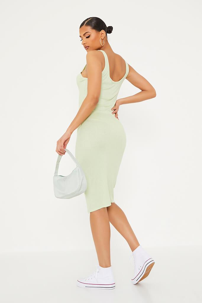 Soft Green Ribbed Sleeveless Button Midi Dress view 4