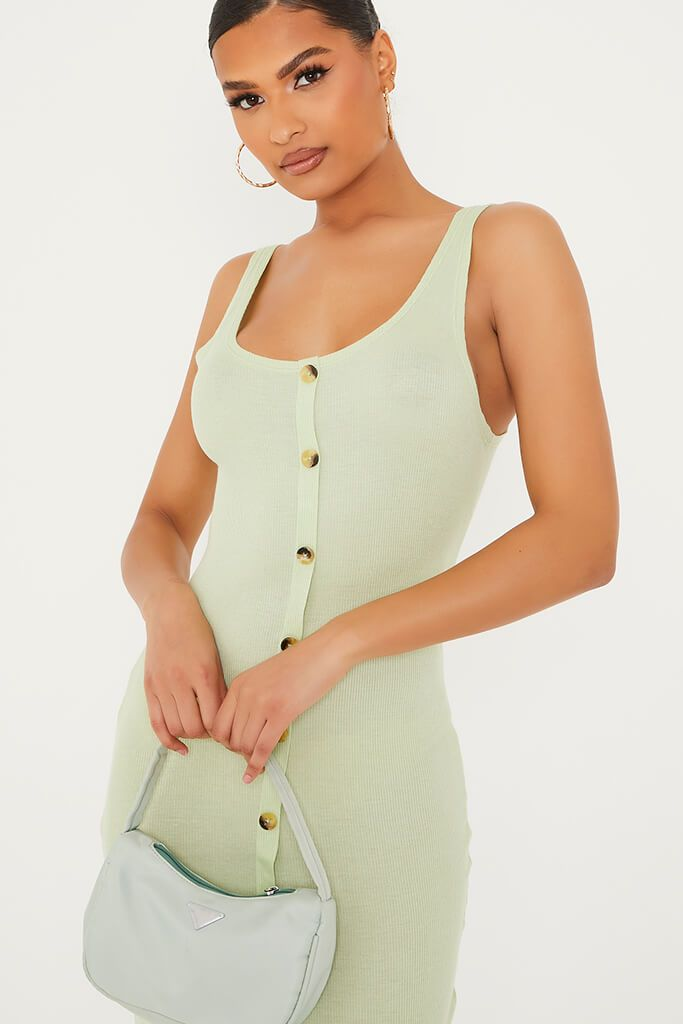Soft Green Ribbed Sleeveless Button Midi Dress view 5