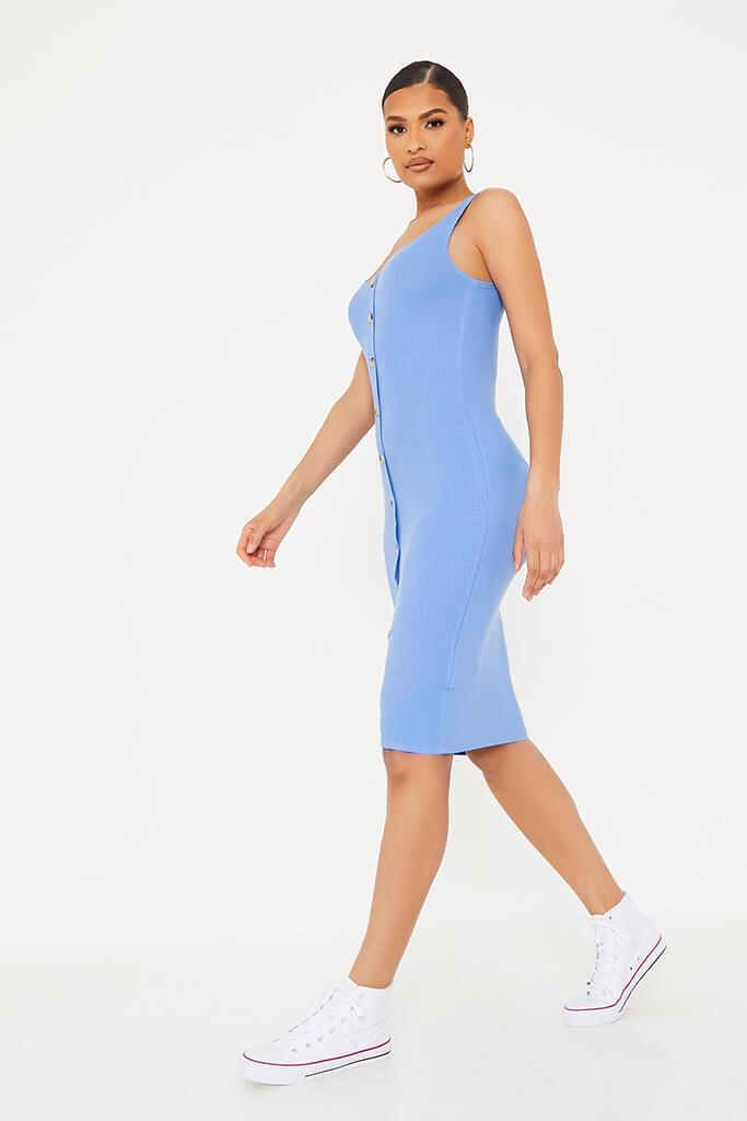 Blue Ribbed Sleeveless Button Midi Dress view 3