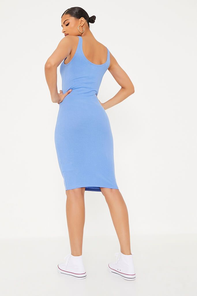 Blue Ribbed Sleeveless Button Midi Dress view 4