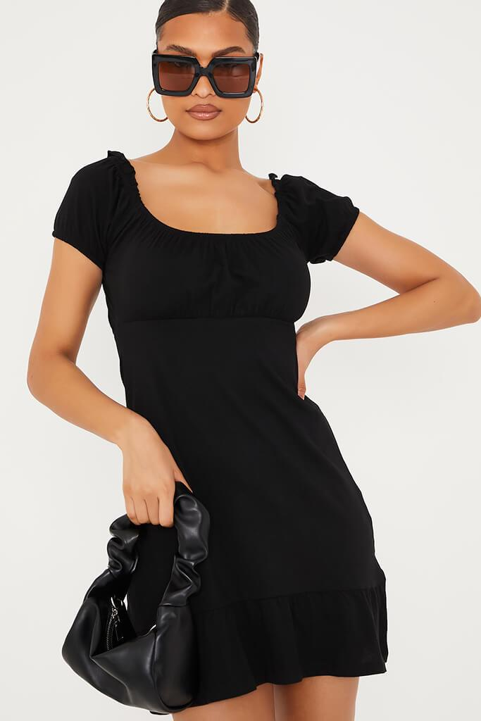 Black Puff Sleeve Frill Hem Milk Maid Skater Dress view 5