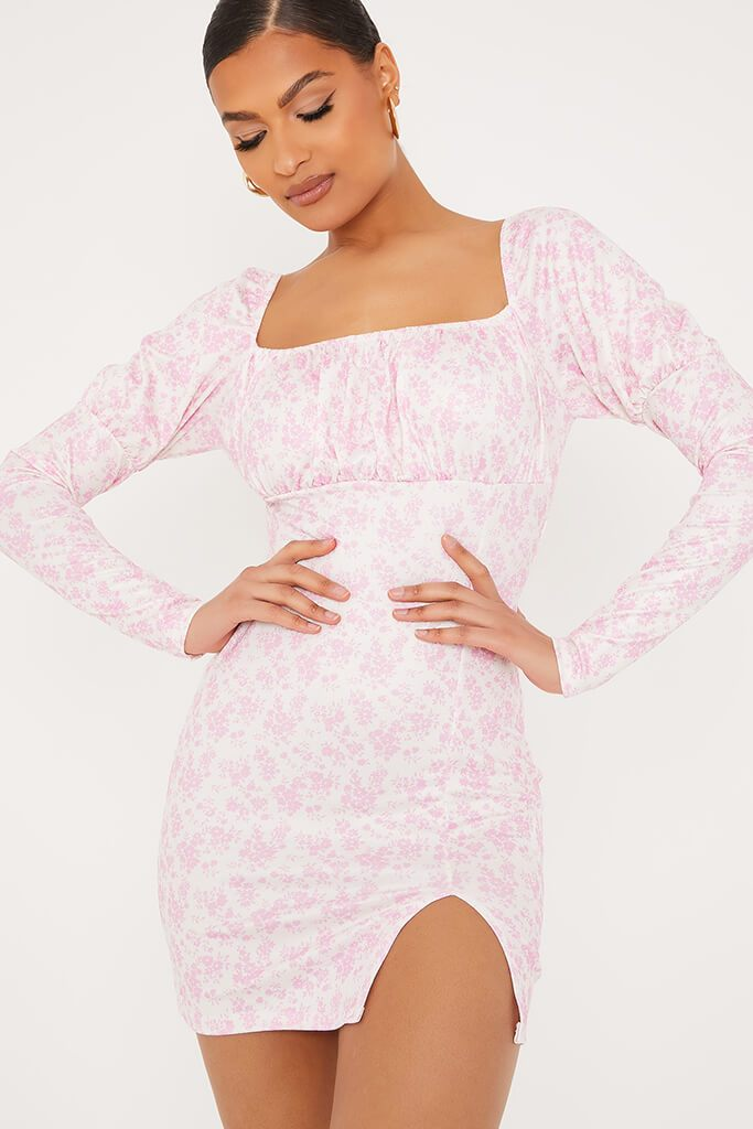 Pink Floral Ditsy Print Milk Maid Bodycon Dress view 5