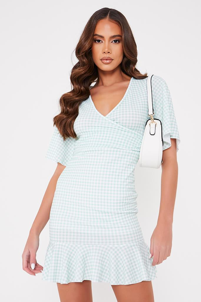Sage Gingham Flutter Sleeve Wrap Frill Dress