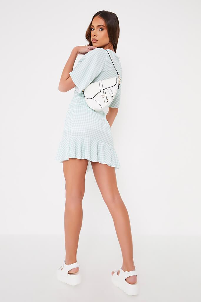 Sage Gingham Flutter Sleeve Wrap Frill Dress view 4